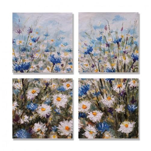 24mama掛畫 多聯式 夏天 春天 花卉 繪畫藝術 花園 草 無框畫 30x30cm-矢車菊和雛菊沼地