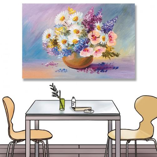 24mama掛畫 單聯式 藝術 美麗花束 插圖 春天 夏天 無框畫 60x40cm-雛菊花瓶