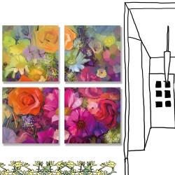 24mama掛畫 多聯式 靜物 手繪印象派 藝術 插圖 植物花卉 春天 無框畫 30x30cm-玫瑰和雛菊