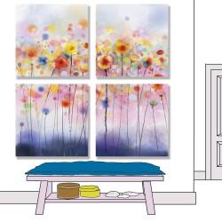 24mama掛畫 多聯式 時鐘掛畫 抽象 植物花卉 繪畫藝術 插圖 春天 華麗 無框畫 30x30cm-豐富多彩罌粟
