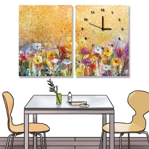 24mama掛畫 二聯式 抽象藝術 豐富 花卉 插圖 浪漫 春天 夏天 無框畫 時鐘掛畫 30x40cm-多彩雛菊