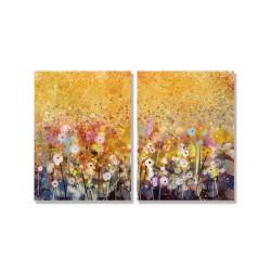 24mama掛畫 二聯式 藝術 花卉 豐富 春天 夏天 浪漫 無框畫 時鐘掛畫 30x40cm-多彩罌粟