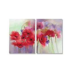 24mama掛畫 二聯式 紅色 柔和 美麗花卉 春天 藝術 無框畫 30x40cm-紅罌粟花