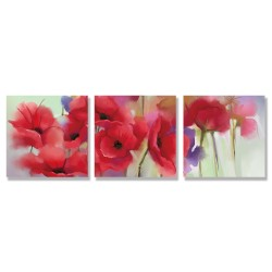 24mama掛畫 三聯式 紅色 柔和 美麗花卉 春天 藝術 無框畫 30x30cm-紅罌粟花