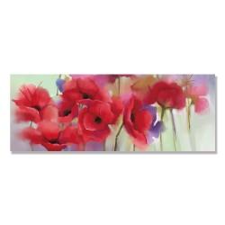 24mama掛畫 單聯式 紅色 柔和 美麗花卉 春天 藝術 無框畫 80x30cm-紅罌粟花