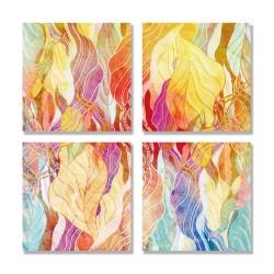 24mama掛畫 多聯式 多彩 幾何 藝術插圖 明亮 繪畫 創造力 無框畫 30x30cm-多彩抽象02