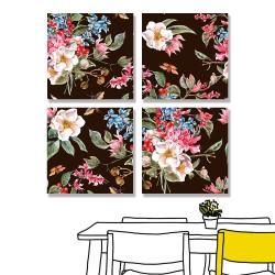 24mama掛畫 多聯式 春天 復古 植物花朵 昆蟲 甲蟲 手繪 無框畫 30x30cm-柔和的春天02
