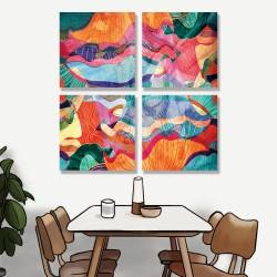 24mama掛畫 多聯式 多彩 幾何 藝術插圖 明亮 繪畫 創造力 無框畫 30x30cm-多彩抽象03