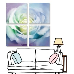 24mama掛畫 多聯式 花瓣 柔和 藝術繪畫 美麗花卉 無框畫 30x30cm-白玫瑰