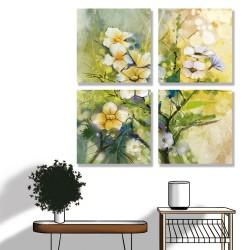 24mama掛畫 多聯式 柔和 白色 植物花卉 春天 美麗 無框畫 30x30cm-日本櫻花01