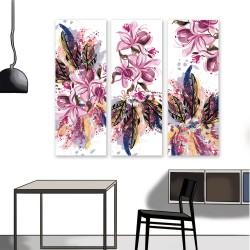 24mama 三聯式 時尚風格 藝術繪畫 斑點 美麗花卉 豐富多彩 無框畫 30x80cm-玉蘭花和羽毛