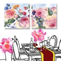 24mama掛畫 二聯式 復古 英國玫瑰 插圖 開花 優雅 植物 無框畫 30x30cm-古典花卉