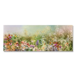 24mama掛畫 單聯式 白雛菊 矢車菊 花田 手繪 蒲公英 春天 無框畫 80x30cm-抽象花卉植物