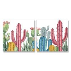 24mama掛畫 二聯式 仙人掌 可愛 藝術插圖 叢林 豐富多彩 無框畫 30x30cm-肉質植物01