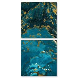 24mama掛畫 二聯式 抽象 藝術 奢華 大理石 藍色 金色 無框畫 30x30cm-藝術大理石01