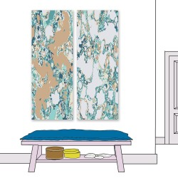 24mama掛畫 二聯式 水磨石 紋理 花崗岩 鵝卵石 顏色 藝術設計 無框畫 30x80cm-流體大理石