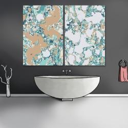 24mama掛畫 二聯式 水磨石 紋理 花崗岩 鵝卵石 顏色 藝術設計 無框畫 40x60cm-流體大理石