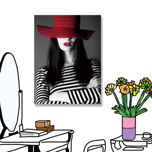 24mama掛畫 單聯式 美麗 時尚 紅色 黑白 女人 無框畫 30x40cm-美麗女人01