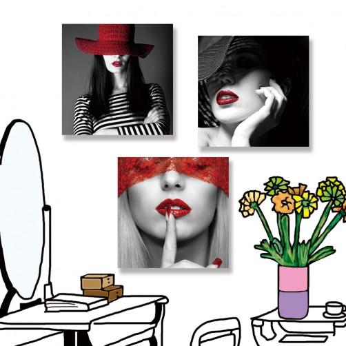 24mama掛畫 三聯式 美麗 時尚 紅色 黑白 女人 年輕 藝術 法國 無框畫 30x30cm-美麗女人