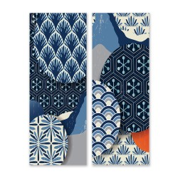 24mama掛畫 二聯式 現代 裝飾 設計 幾何 元素 東方 華麗 圖案 風格 質地 無框畫 30x80cm-日本時尚藝術02