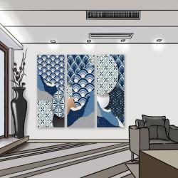 24mama 三聯式 現代 裝飾 設計 幾何 元素 東方 華麗 圖案 風格 質地 無框畫 30x80cm-日本時尚藝術01