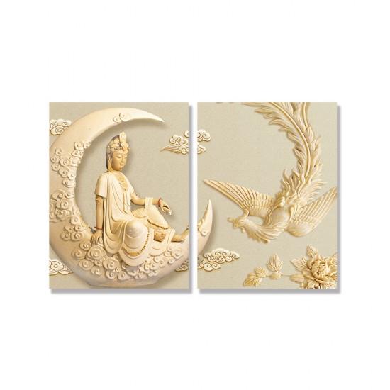 24mama掛畫 二聯式 新月 孔雀 雕像 雲 優雅 宗教 美麗藝術 花卉 無框畫 30x40cm-神明孔雀