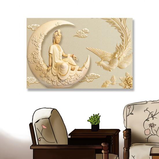 24mama掛畫 單聯式 新月 孔雀 雕像 雲 優雅 宗教 美麗藝術 花卉 無框畫 60x40cm-神明孔雀