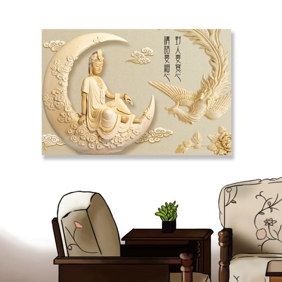 24mama掛畫 單聯式 新月 孔雀 雕像 雲 優雅 宗教 美麗藝術 花卉 無框畫 60x40cm-神明孔雀靜思語