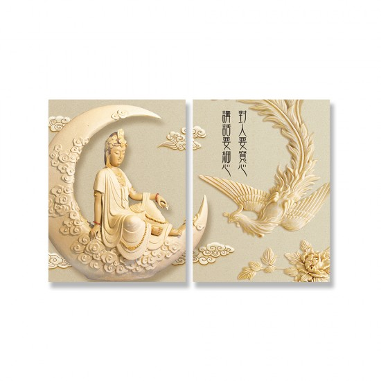 24mama掛畫 二聯式 新月 孔雀 雕像 雲 優雅 宗教 美麗藝術 花卉 無框畫 30x40cm-神明孔雀靜思語