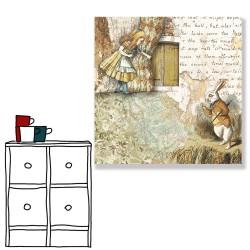 24mama掛畫 單聯式 愛麗絲 故事 動物 兔子 無框畫 30x30cm-夢遊仙境02