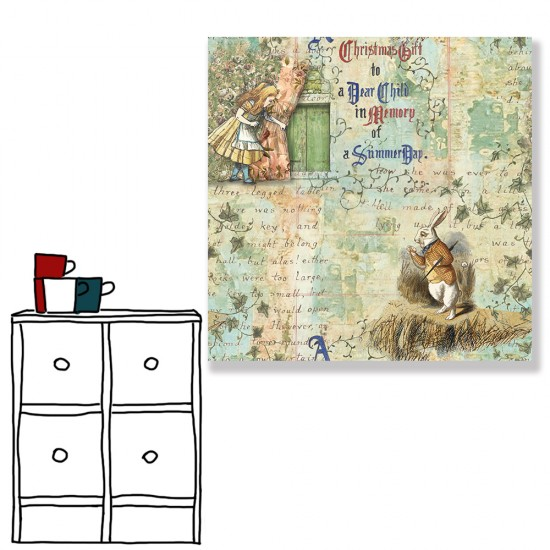 24mama掛畫 單聯式 愛麗絲 故事 動物 兔子 無框畫 30x30cm-夢遊仙境03
