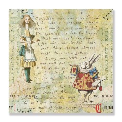 24mama掛畫 單聯式 愛麗絲 故事 動物 兔子 無框畫 30x30cm-夢遊仙境06