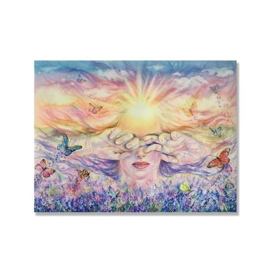 24mama掛畫 單聯式 人物 自然 冥想 放鬆 陽光 豐富多彩 蝴蝶 昆蟲 花卉 天空 無框畫 40x30cm-正能量