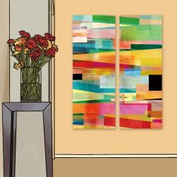 24mama掛畫 二聯式 明亮 豐富多彩 創造力 藝術 圖形 無框畫 30x80cm-多彩幾何抽象02