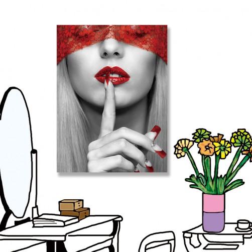 24mama掛畫 單聯式 女人 紅色 法國 無框畫 30x40cm-美麗女人02