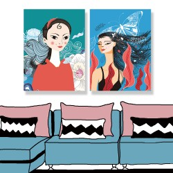 24mama掛畫 單聯式 東方 時尚 人物 肖像 植物花卉 藝術 豐富多彩 圖案 樹葉 蝴蝶 昆蟲 無框畫 30x40cm-美麗秀髮女人