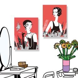 24mama掛畫 單聯式 藝術插圖 人物 首飾 肖像 理髮 古董 植物圖形 無框畫 時鐘掛畫 30x40cm-時尚復古女人