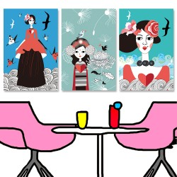 24mama掛畫 三聯式 動物 女孩 人物 鳥 植物花卉 肖像 美麗 藝術插圖 波浪 海鷗 蝴蝶 時尚 無框畫 40x60cm-神秘的愛