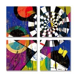 24mama掛畫 多聯式 園圈 三角形 筆觸 飛濺 藝術元素 充滿活力 條紋 無框畫 30x30cm-抽象幾何