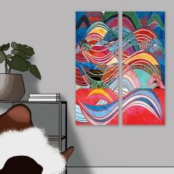 24mama掛畫 二聯式 抽象 豐富多彩 幾何 藝術 創作 顏色 無框畫 30x80cm-多彩波浪線條