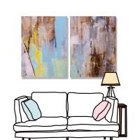 24mama 二聯式  藝術 抽象 無框畫 30x40cm-彩色油畫01