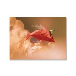 24mama掛畫 單聯式 女孩 摺紙魚 藝術插畫 天空 無框畫 40x30cm-騎在雲中