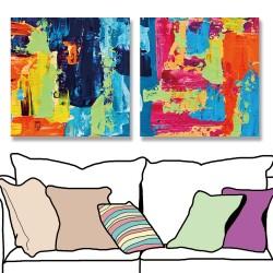 24mama掛畫 二聯式 抽象背景 藝術品 創作 繪畫 無框畫 30x30cm-現代彩色