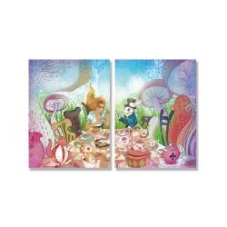24mama掛畫 二聯式 愛麗絲夢遊仙境 插圖 女孩 動物 白色兔子 蘑菇 茶會 童話 甜點 無框畫 30x40cm-瘋狂茶會