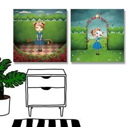 24mama掛畫 二聯式 樹 格子 花朵 玫瑰 黑桃 愛心 菱形 梅花 火烈鳥 動物 兔子 面具 草叢 無框畫 30x30cm-女孩仙境