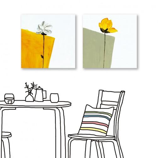 24mama掛畫 二聯式 黃白花卉 除舊佈新 油畫風無框畫 30X30cm-協調