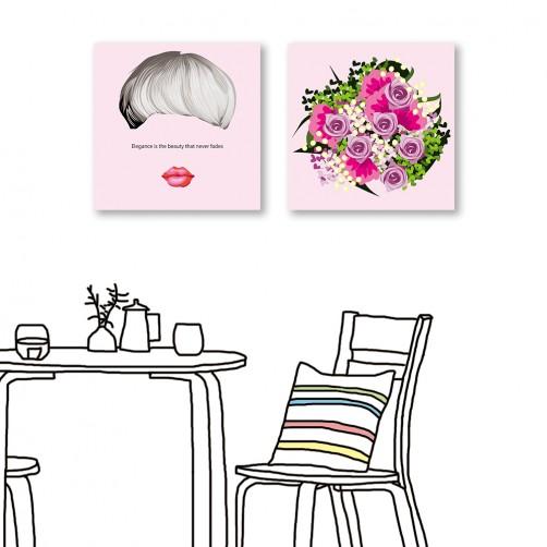24mama掛畫 二聯式 人物 花卉 玫瑰 文字掛畫 無框畫 30X30cm-優雅