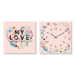 24mama掛畫 二聯式 花卉 時鐘掛畫 無框畫 30X30cm-MY LOVE