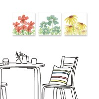 24mama掛畫 三聯式 花卉 手繪風 無框畫 30x30cm-小花