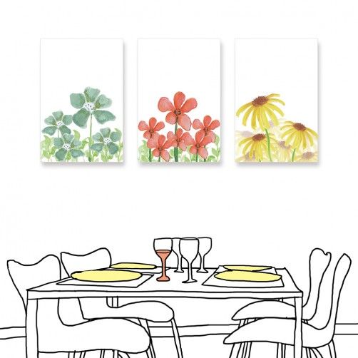 24mama掛畫 三聯式 花卉 手繪風 無框畫 40x60cm-小花
